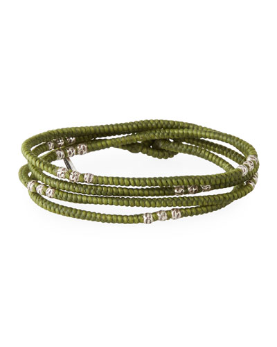 Men's Knotted Wrap Bracelet with Silver Beads, Green