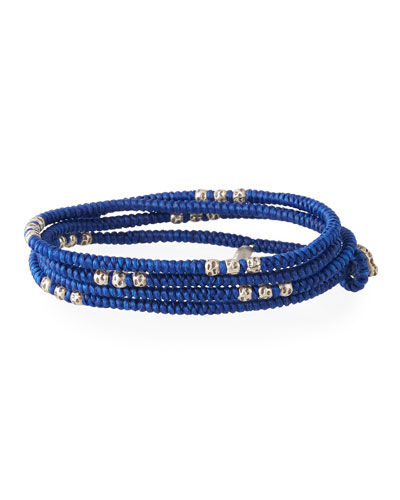 Men's Knotted Wrap Bracelet with Silver Beads, Blue