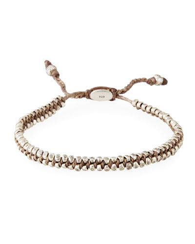 Men's Two-Row Stamped Beads Bracelet, Taupe