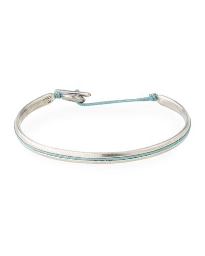 Men's Slim Oval Cuff Bracelet, Green