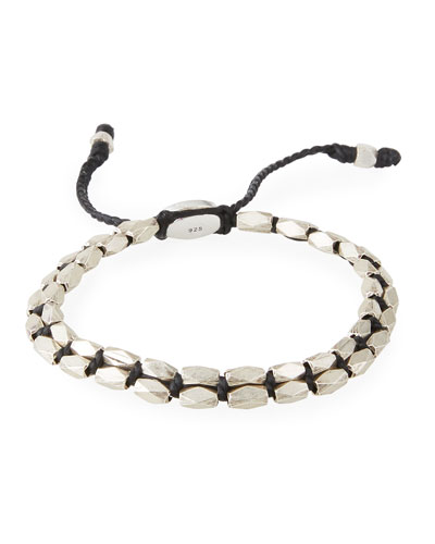 Men's Sterling Silver Bead Bracelet, Black