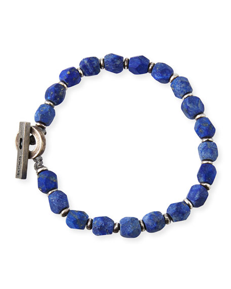 M. Cohen Men's Lapis Axiom Beaded Bracelet, Blue Pattern