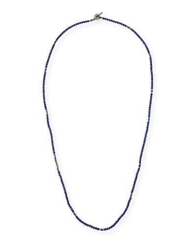 Men's Mini Gemstone Beaded Necklace, Blue
