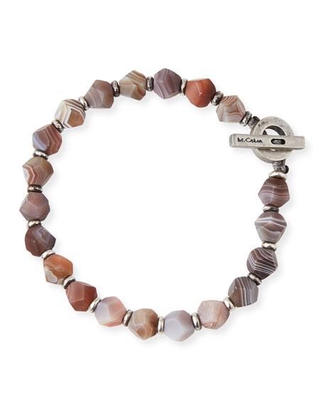 M. Cohen Men's Botswana Axiom Beaded Bracelet, Brown Pattern