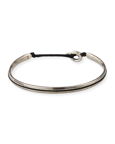 Men's Slim Oval Cuff Bracelet, Black