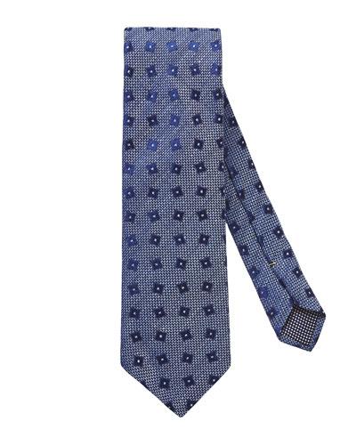 Geometric Linen & Silk Tie, Blue