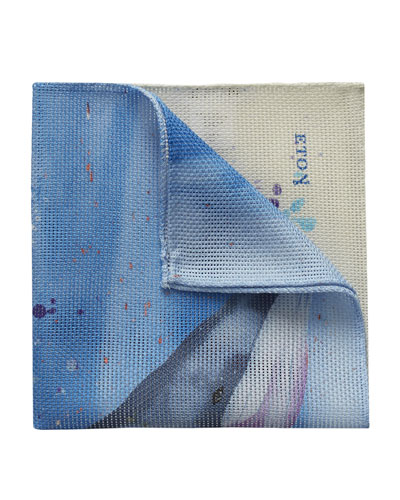 Whale Butterfly Cotton Pocket Square