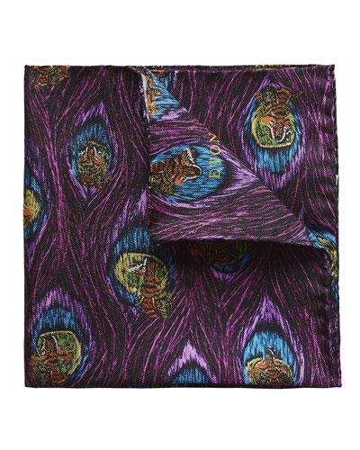 Wolf & Peacock Silk Pocket Square