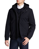 Emporio Armani Men's Nylon Bomber Jacket with Hood