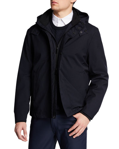 Men's Nylon Bomber Jacket with Hood