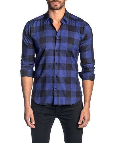 Men's Check Cotton Sport Shirt, Purple Navy