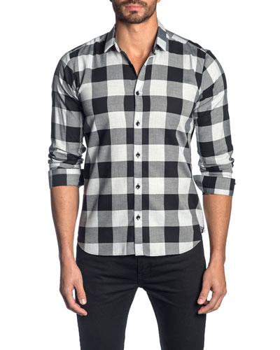 Men's Check Cotton Sport Shirt, Gray Black