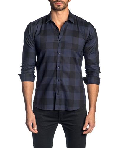 Men's Check Cotton Sport Shirt, Dark Blue