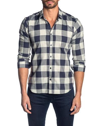 Men's Check Cotton Sport Shirt, Gray