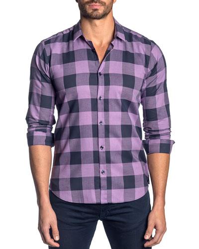 Men's Check Cotton Sport Shirt, Purple/Navy