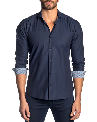 Men's Solid Poplin Shirt w/ Contrast Facing