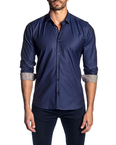 Men's Textured Sport Shirt w/ Contrast Facing
