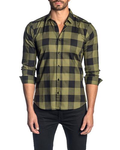 Men's Check Pattern Sport Shirt, Olive/Black