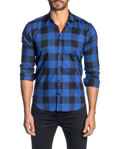 Men's Check Pattern Sport Shirt, Blue