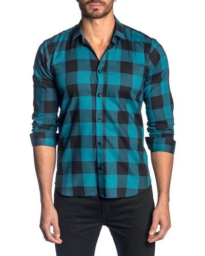 Men's Check Pattern Sport Shirt, Teal/Navy
