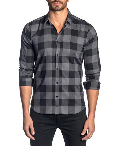 Men's Check Pattern Sport Shirt, Dark Gray