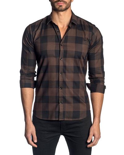 Men's Check Pattern Sport Shirt, Brown