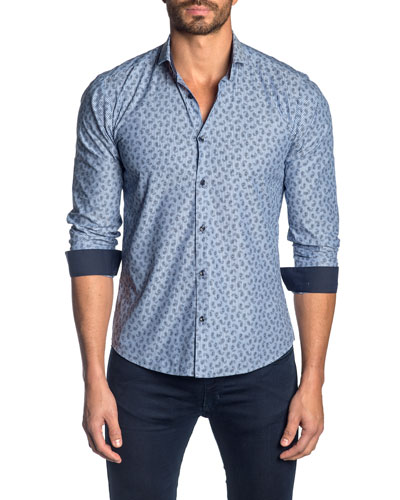 Men's Paisley-Pattern Sport Shirt w/ Solid Facing