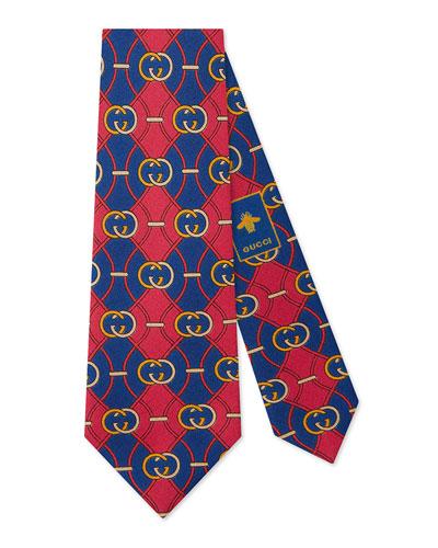 Interlocking-G Rhombus Silk Tie