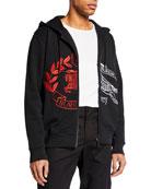 Burberry Men's Embroidered Spliced Logo Zip-Front Hoodie