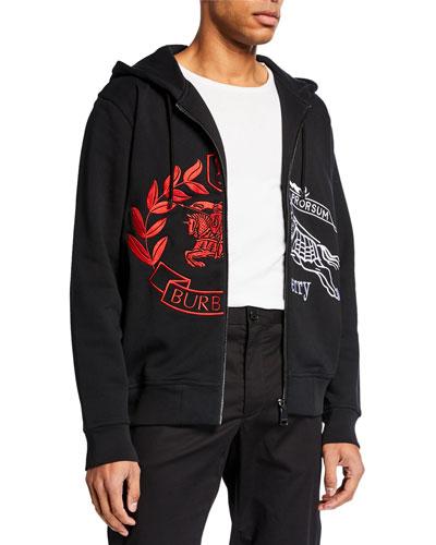 Men's Embroidered Spliced Logo Zip-Front Hoodie