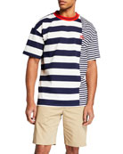 Burberry Men's Barratt Spliced-Stripes T-Shirt
