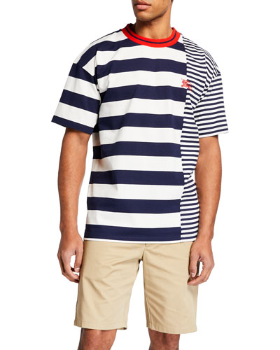 Men's Barratt Spliced-Stripes T-Shirt
