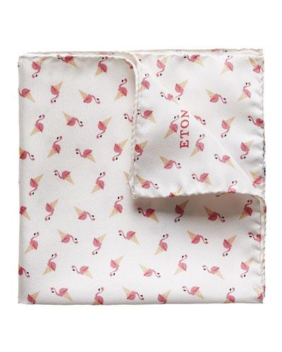 Flamingo & Ice Cream Silk Pocket Square