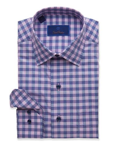 Men's Two-Tone Check Sport Shirt, Berry