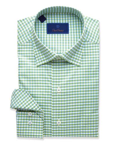 Men's Check Cotton Sport Shirt, Green Grass