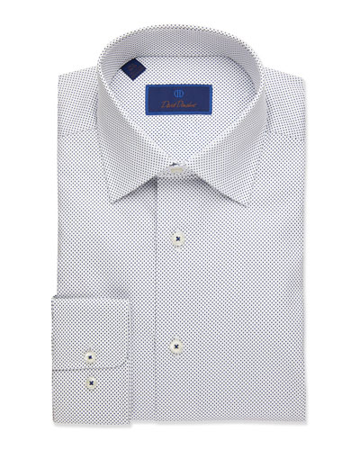 Men's Dot-Textured Regular-Fit Dress Shirt