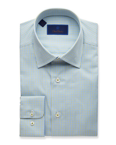 Men's Two-Tone Grid Regular-Fit Dress Shirt, Grass