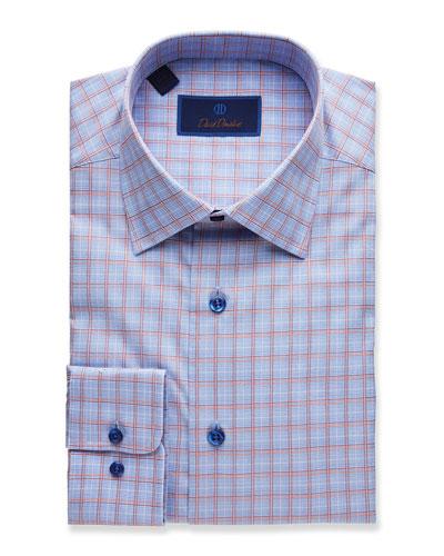 Men's Plaid Regular-Fit Dress Shirt, Blue/Melon