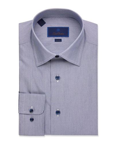 Men's Solid Textured Slim-Fit Dress Shirt