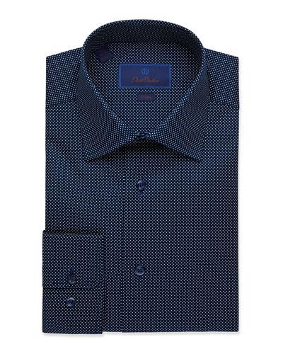 Men's Dot-Textured Trim-Fit Dress Shirt