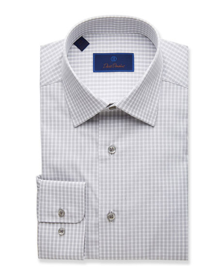 David Donahue Men's Regular-Fit Grid Dress Shirt