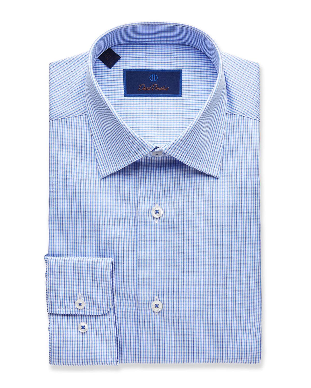 Men's Regular-Fit Two-Tone Check Dress Shirt