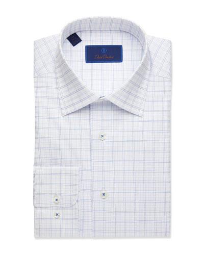 Men's Regular-Fit Plaid Dress Shirt, Blue
