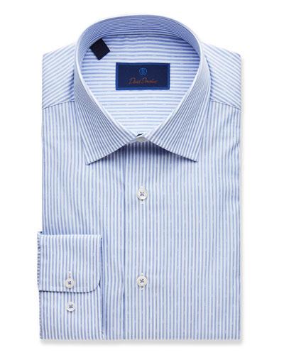 Men's Regular-Fit Striped Dress Shirt, Blue