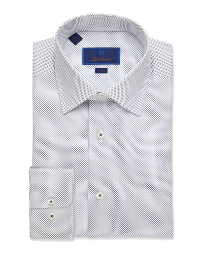 Men's Trim-Fit Dot-Pattern Dress Shirt