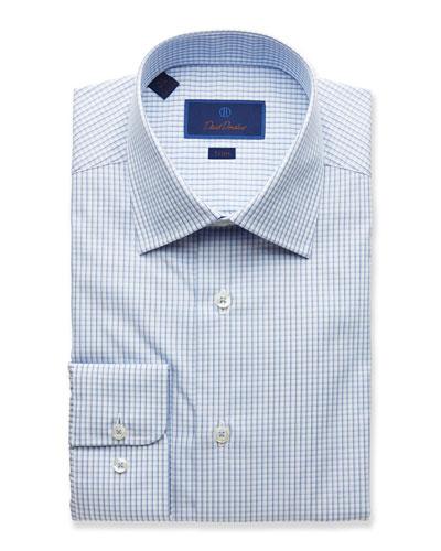 Men's Trim-Fit Grid Dress Shirt, Blue