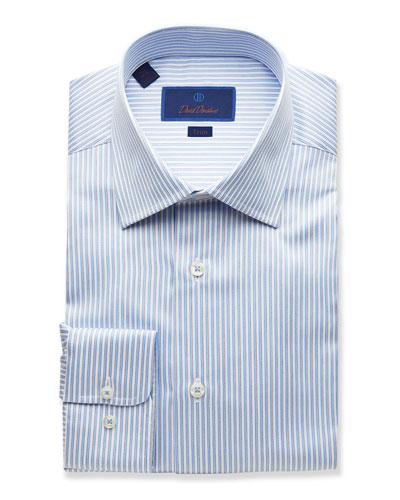 Men's Trim-Fit Striped Dress Shirt, Light Blue