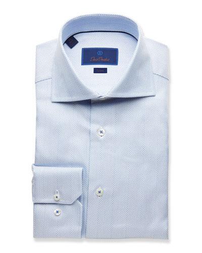 Men's Trim-Fit Textured Dress Shirt, Light Blue