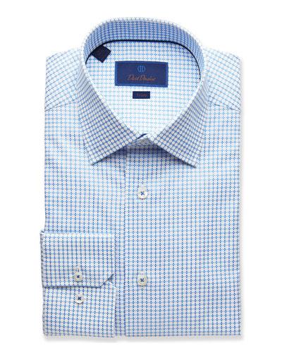 Men's Trim-Fit Geometric-Pattern Dress Shirt, Blue