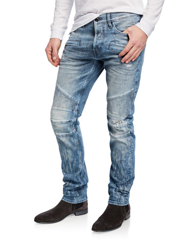 Men's Blinder Biker Scattered Distressed Skinny Jeans